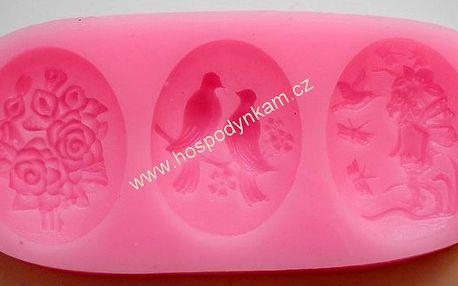 Silikonová forma na marcipán holubičky a květiny (3 motivy v sadě)