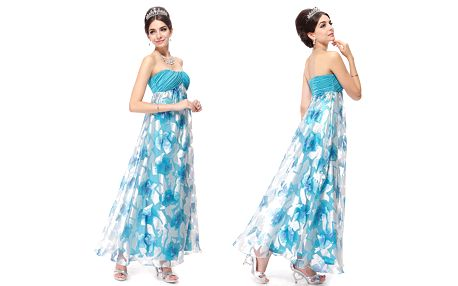 Modré šaty vhodné pro nastávající maminku s bříškem