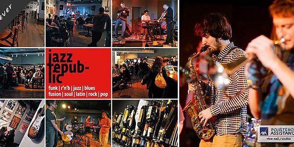 2 otevřené vstupenky na jazzové koncerty v klubu Jazz Republic Praha! Platnost až do konce roku! Určete si den, vyberte si místa odkud si koncert užijete a nechte se unášet na jazzové vlně!