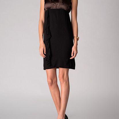 Dámské černo-hnědé šaty Soap Art s volánem a vázankou