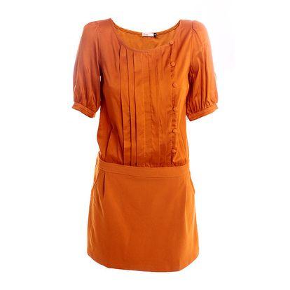 Dámské oranžové šaty s knoflíčky 2two