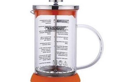 Konvička na čaj a kávu French Press 800 ml, silikon / nerez, oranžová KAISERHOFF KH-7316