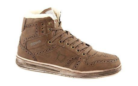 Pánské kávové kožené zimní boty Dude