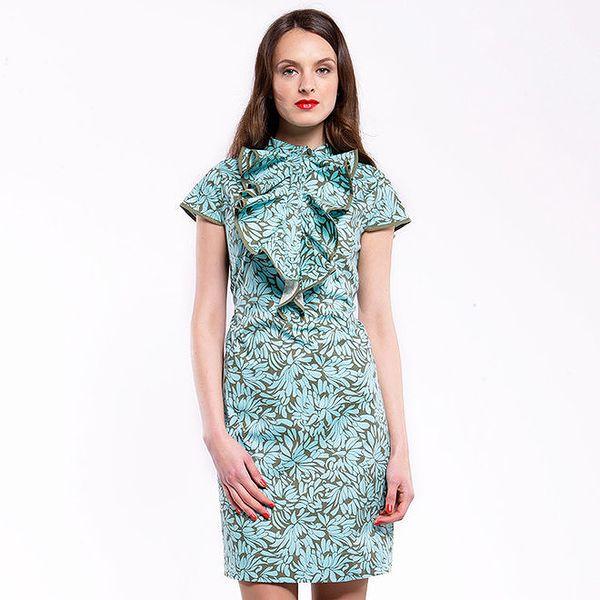 Dámské zeleno-modré šaty Almatrichi s květinovým potiskem a volánem