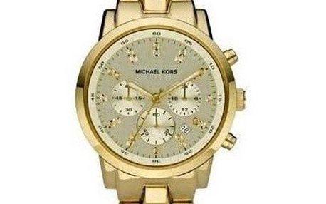 Unisexové hodinky ve zlaté barvě s chronografem a datumovkou Michael Kors
