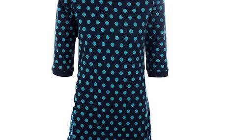 Dámské černé šaty s tyrkysovými puntíky Emoi