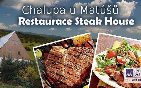 Za gurmánským zážitkem do Jeseníků! Pobyt pro milovníky hovězích specialit na 4 dny s večeřemi z výtečného hovězího masa. Pochutnáte si na hovězím steaku, pečených žebrech nebo hovězích výpečcích. Steak House Dolní Moravice - místo pro relax!