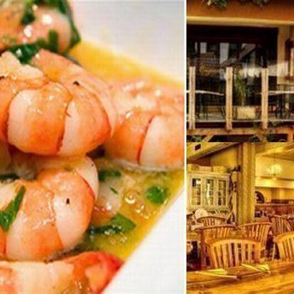 Tygří krevety připravované na 4 různé způsobys filipínskou, zázvorovou a česnekovou omáčkou za úžasnou cenu vOriginal Cappuccini Restaurant! Luxusní gurmánský večer za úžasnou cenu.