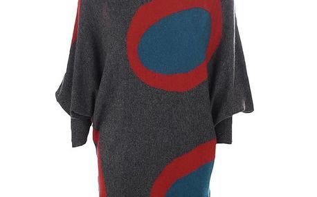 Dámské šedé úpletové šaty s červeno-modrými koly Emoi