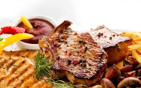 600g šťavnatého masa na 3 různé variace jen za 235 kč v brně! 200g vepřových kotlet v pikantní marinádě, 200g krkovice s červeným pepřem, 200g kuřecích prsou s provensálským kořením, 3 libovolné přílohy a salátek!