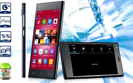 """5"""" smartphone s češtinou, dualním 5 Mpx fotoaparátem a Androidem 4.2.2"""