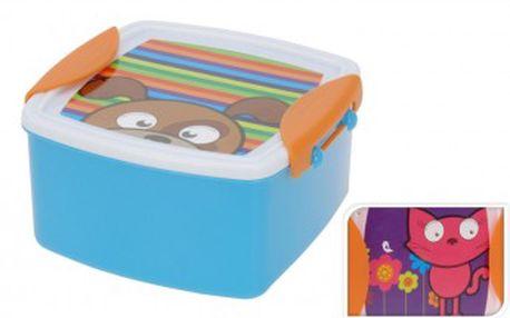 Svačinový box dětský s klip víčkem, 14 x 14 cm, kočka KAISERHOFF KO-314400640