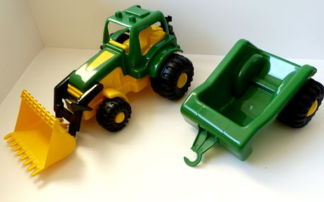 Velký traktor s vlečkou (přívěsem) a lžící na písek - 80 cm