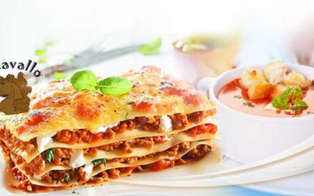 Pravé ITALSKÉ menu pro 2 OSOBY za pouhých 189 Kč! 600g výtečných LASAGNÍ BOLOGNESE + TOMATOVÁ POLÉVKA s krutony ve stylové italské restauraci IL CAVALLO!
