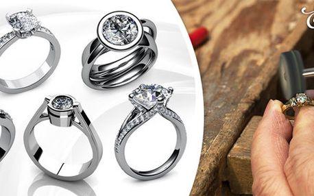 Umělecké prsteny z bílého zlata s diamantem