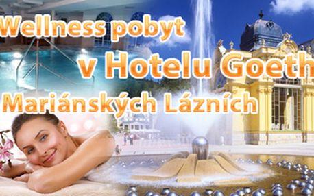 Mariánské Lázně na 3 dny - wellness pobyt pro DVA v 4* hotelu Goethe včetně polopenze a relax procedur pro každého. Vše za 3.499 Kč za oba