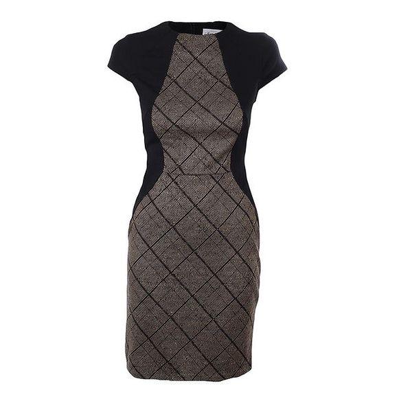 Dámské hnědo-černé šaty s károvaným vzorem Estella