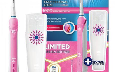 Dámský elektrický kartáček Oral-B Professional Care 1000 Pink + Cestovní pouzdro ZDARMA