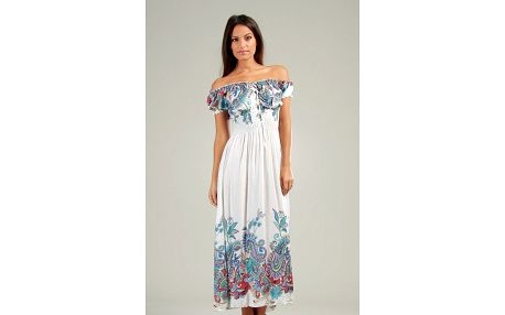 Dámské bílé maxi šaty s pestrými vzory Anabelle
