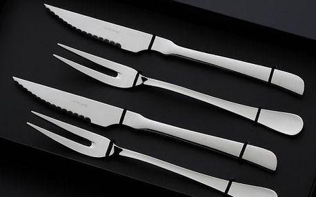 Herdmar Steaková sada Portofino Black box, stříbrný kov, sada 4 ks