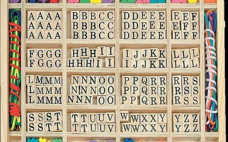 """Navlékací perle v dřevěné krabici """"ABC a tvary"""""""