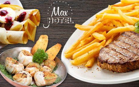 3chodové menu pro dva mlsouny v Hotelu Max