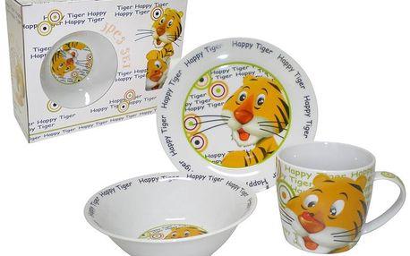 TORO Dětská jídelní sada Happy Tiger 3 ks