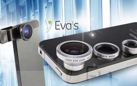 Univerzální klip objektiv 3v1 na mobilní telefony! Sada objektivů - rybí oko, širokoúhlý a makro!