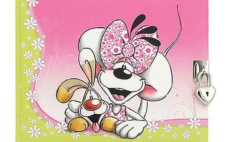 Se zámkem - jedinečný parfémovaný deníček s motivem myšky Diddliny a pejska Bibombla