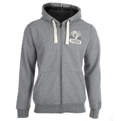 Pánská šedá mikina s kapucí na zip Puma