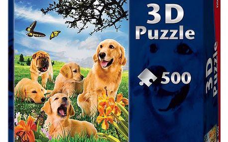 Dětské 3D puzzle s obrázky pejsků, 50 dílků