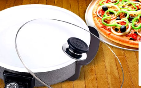 Bio keramická elektrická pizza pánev s poklicí Renberg. Připravte si oblíbenou dobrotu!