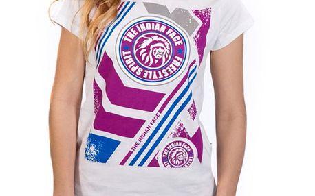 Dámské bílé tričko s barevným potiskem Indian Face