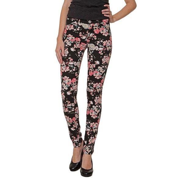 Dámské černé kalhoty s barevnými květy 2nd One
