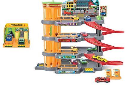 KidsHome Garáž 3 patra s autoservisem a 4 autíčka