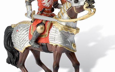 Figurka červený rytíř na koni