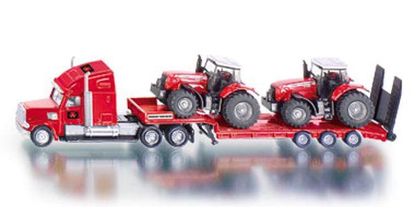 SIKU Farmer Tahač s podvalníkem a traktory Massey Ferguson 1