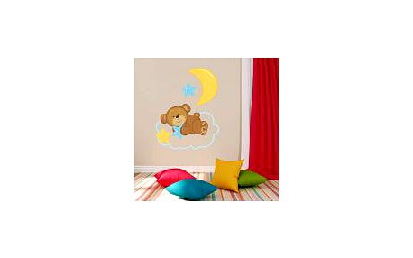 Úžasná dekorativní samolepka na zeď - Medvídek a hvězdičky