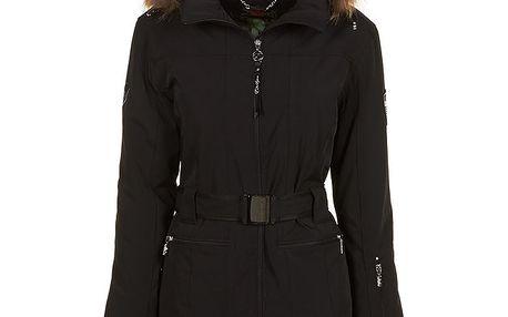 Dámská černá bunda s páskem a kožíškem E2ko