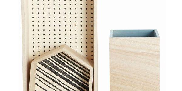 Set dřevěných organizérů Office, 3 ks