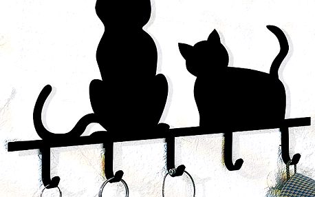 Designový držák na klíče s kočkami