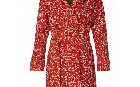 Dámský oranžovo-bílý dvouřadý trenčkot Happy Rainy Days