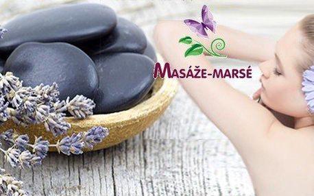 Uklidňující levandulová masáž, zábal a závěrečné prohřátí lávovými kameny