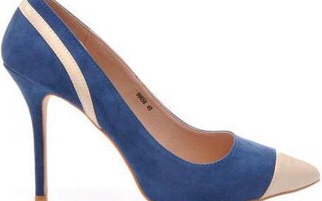 Elegantní semišové lodičky na štíhlém podpatku, barevně odlišná špička. Velikost: 39