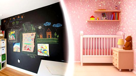 Magnetická a tabulová barva nebo dekorační třpytkový nátěr Glitter na stěnu