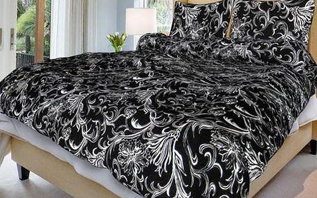 Smolka Bavlna povlečení Zuzana černá, 140 x 200 cm, 70 x 90 cm