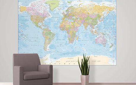 Tapeta Politická mapa světa 158x232 cm