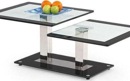 Konferenční stolek skleněný Nevada (Černé sklo/Čiré sklo)