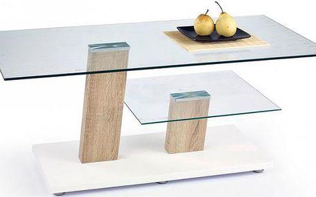 Konferenční stolek skleněný Niagara (sonoma / bílá / sklo)