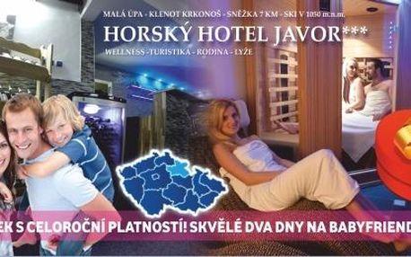 Tip na dárek! Dovolená 3 dny s polopenzí a wellness zdarma v 3*hotelu v Krkonoších!
